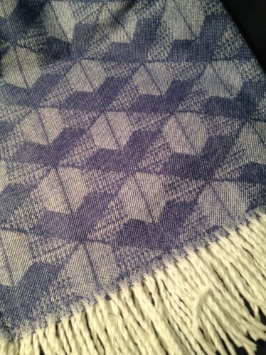 Blue-patterned wedding shawl from Lesotho