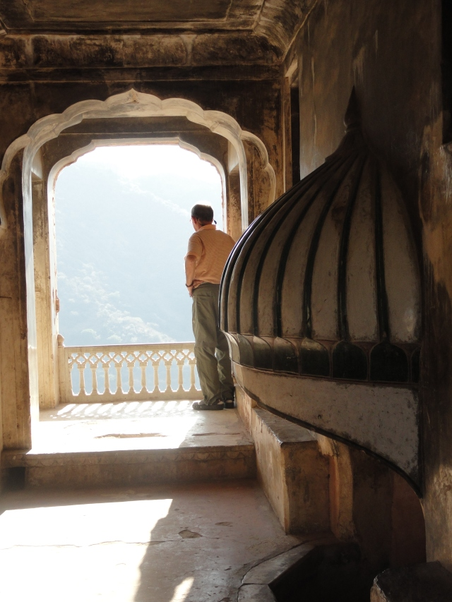 Peering out from an arch at Amer Fort.