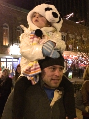 Daddy with panda on shoulders