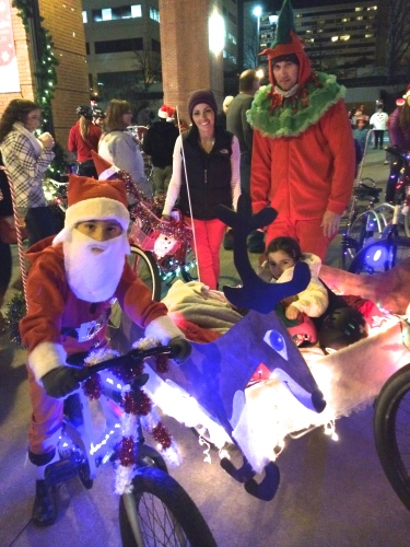 Family riding together -- Tour de Lights Knoxville 2014