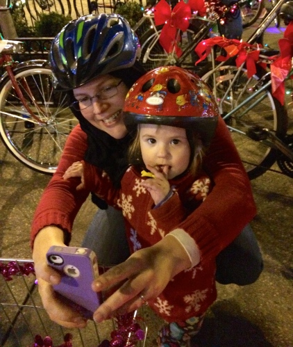 Mom and child taking selfie -- Tour de Lights 2014