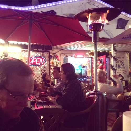 Dining under the heat lamps at Sting Ray's, Tybee Island