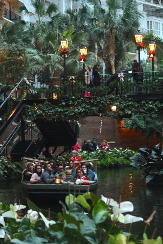 Riding the Delta Riverboat through the waters of at Gaylord Opryland Hotel