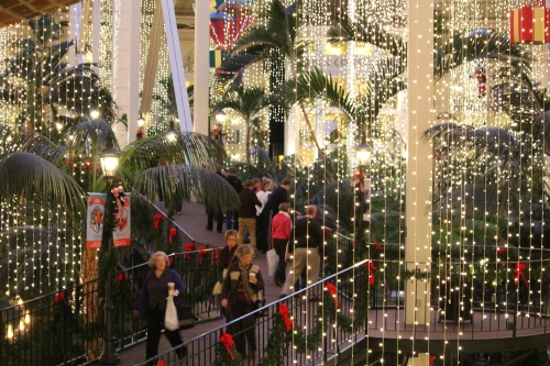 Interior of Opryland Hotel decorated for Christmas holidays