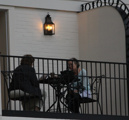 Early-morning coffee on the balcony -- Gaylord Opryland Resort