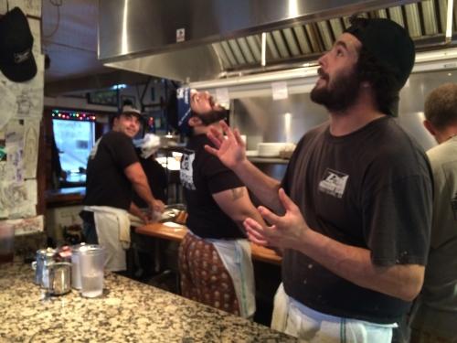Chefs having fun -- The Breakfast Club