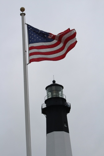 Flying the flag over Tybee Island Lighthouse