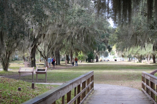 Walking from the Visitor Center onto the grounds of  Fort Frederica