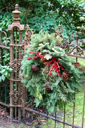 Natural Christmas decorations in cemetery at Christ Church, St. Simons