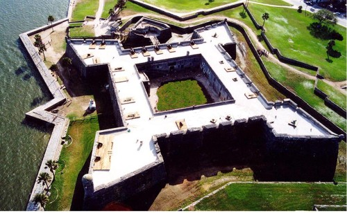 The shape of Castillo de San Marcos as seen by air (photo by Wikimedia)
