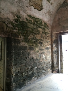 Thick walls of Coquina at the Castillo in St. Augustine