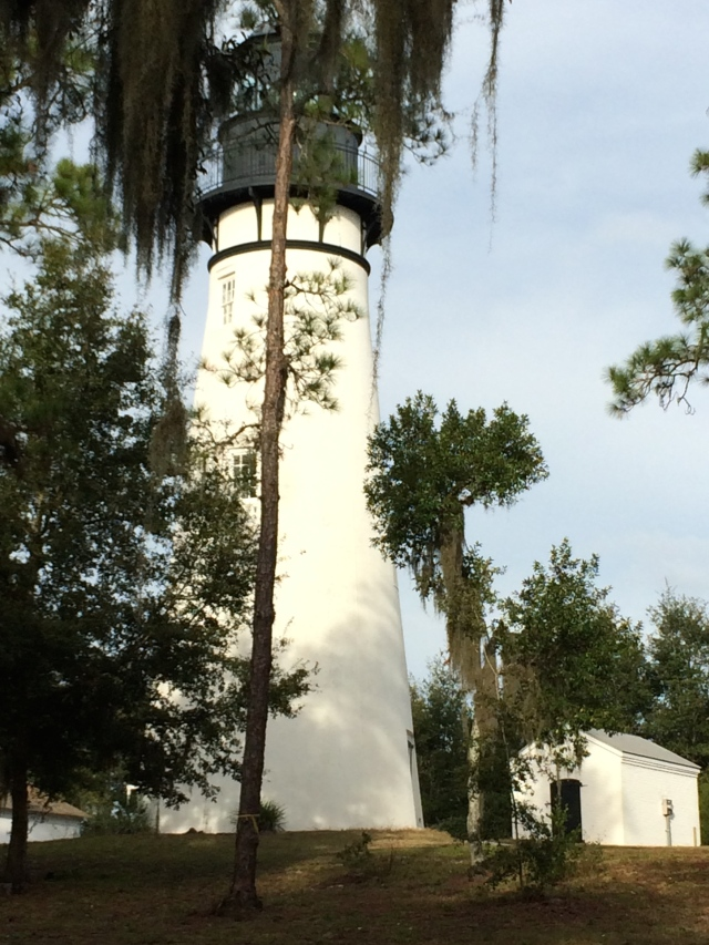 Our best shot, pole and all, of the Amelia Island Light taken through a chain-link fence