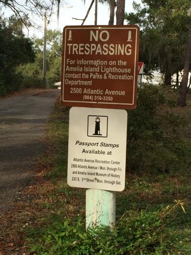Sign at Amelia Island Lighthouse