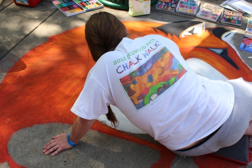 Artist working at Chalk Walk 2015