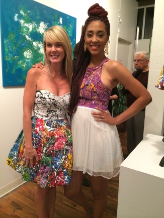 Modeling dresses by artist Angel Blanco at the Dogwood Arts Regional Fine Art Exhibition