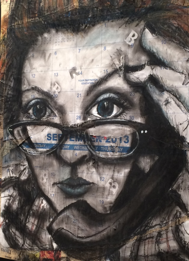Just One of Those Days by Cheryl Burchett, Educator at Beaumont Elementary, Knox County Schools.  Charcoal and pastel on collage.