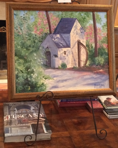 Soft light bathes this painting of the Westmoreland Waterwheel by Melanie Wood.