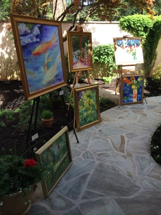 Leading out into the rear courtyard were more paintings on display.