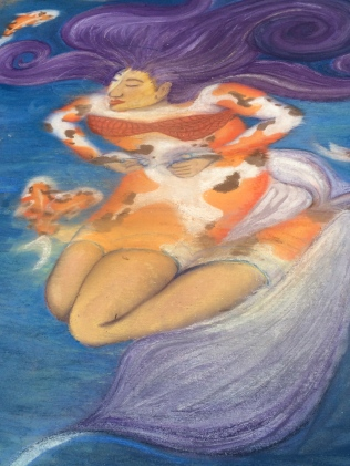 Lady with Koi -- Chalk Walk 2015