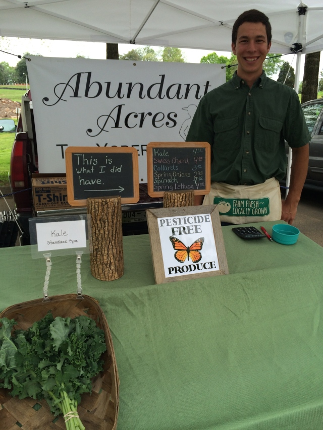 """This is what I had"" sign: Abundant Acres tent at Lakeshore Park Farmers Market.  You have to get there early!"