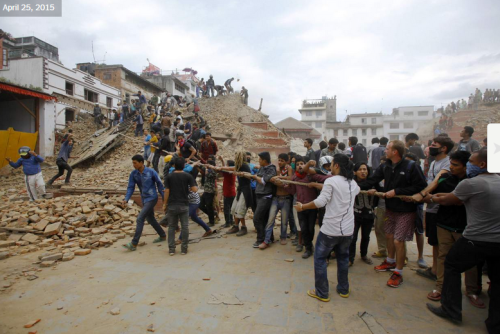 Demolished: Trailokya Mohan Narayan Temple, Katmandu.  Photo:  Niranjan Shrestha, Associated Press: