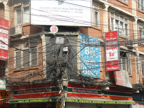 Tangled wires in the Thamel District of Kathmandu, 2011