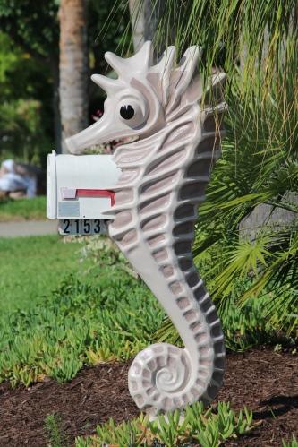 Seahorse enveloping a mailbox