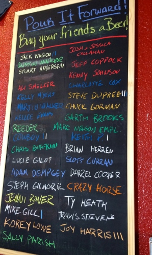 Pour It Forward board:  Saw Works Brewing Company