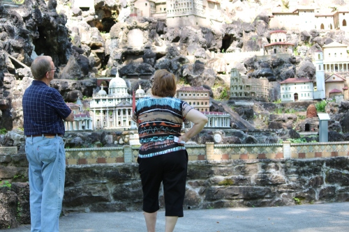 Gazing at one of several walls of miniature buildings in Ave Maria Grotto.