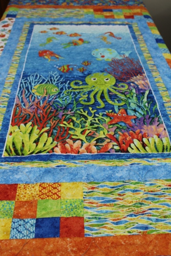 """Colorful """"under the sea"""" quilt at Sewing Bee"""
