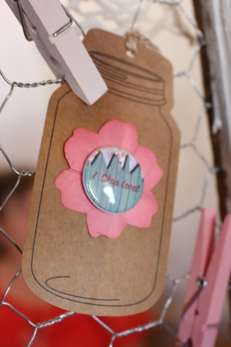 "Cute ""Shop Local"" gift tag made by Tamara Cook at The Traveling Bazaar."