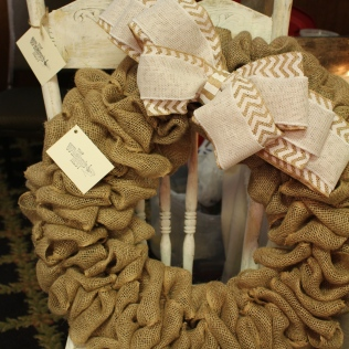 Burlap wreath from The Wrenn's Nest