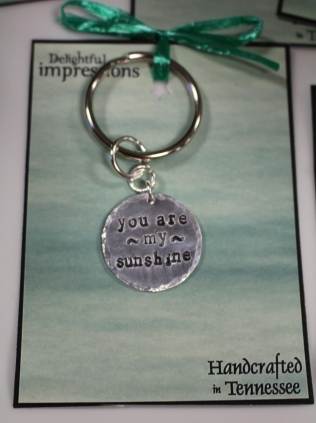 Keychain of stamped metal from Delightful Impressions