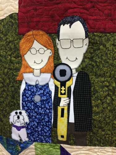 Great take-off on Grant Wood's American Gothic in this quilt at Little Blessings Quilt Shop in Crossville, TN.  No pitch fork here.  Just a rotary cutter!