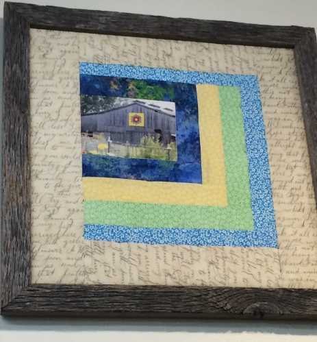 Off-set Log Cabin pattern with barn quilt picture: Mountain Stitches by Susan, Gatlinburg, TN