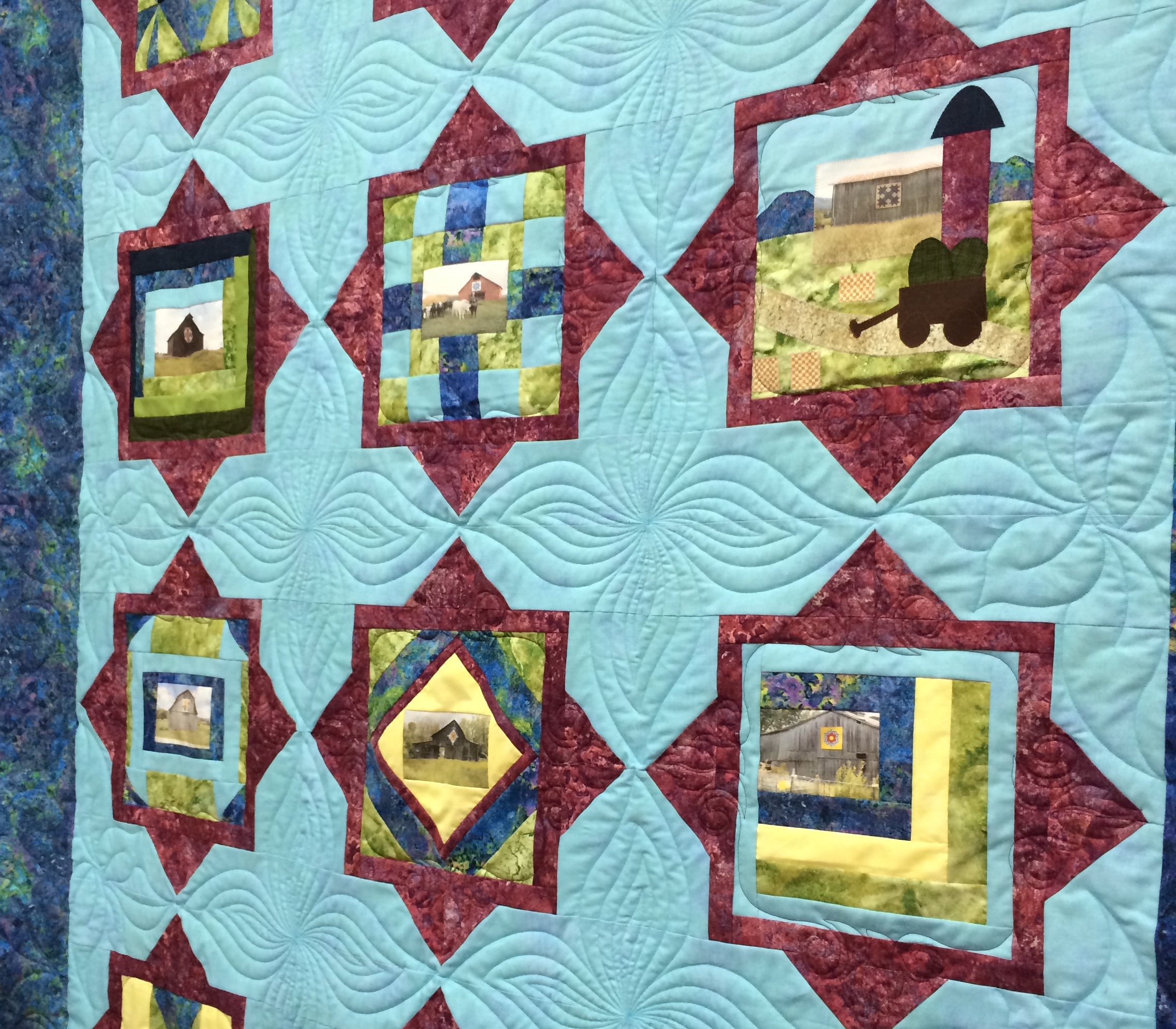 this star quilted by pat center log i patcrowson for crowson lucy quilts cabin custom with quilt poinsettia