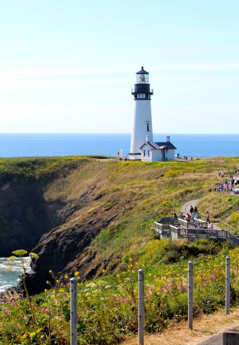 Picture-perfect setting of Yaquina Head Lighthouse on US 101, MP 137.6
