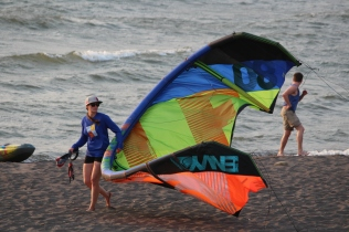 Bringing it home -- kite surfing in Hood River, Oregon
