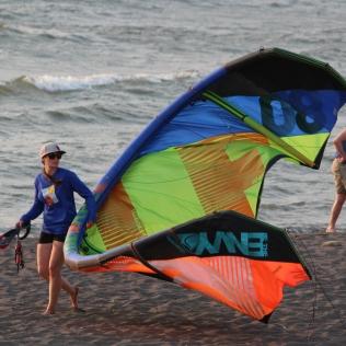 Bringing it home -- kite surfing in Hood River, Oregon