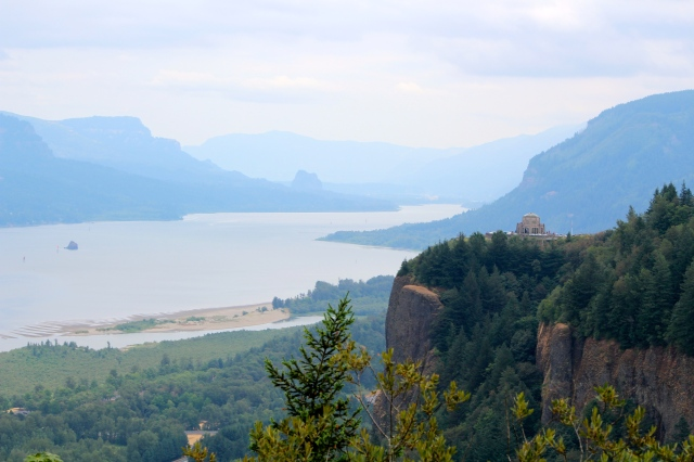 View of Columbia River and Vista House from Chanticleer Point near Portland, Oregon