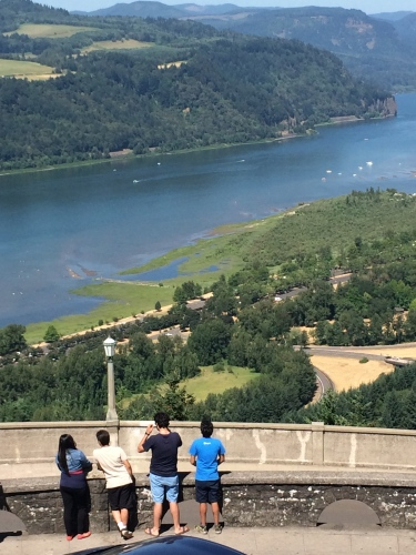 Taking in the view from Vista House at Crown Point of the Columbia River Gorge.