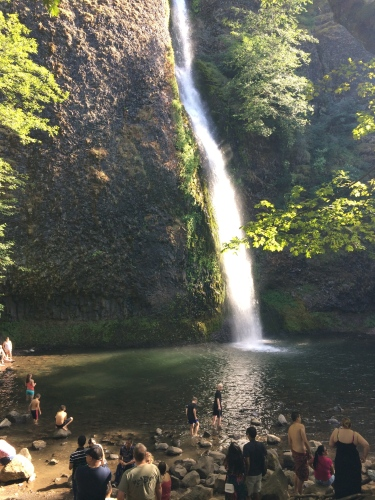 You can see Horsetail Falls from the highway and parking lot, but why would you want to when you can get out and cool off in its pool down below!