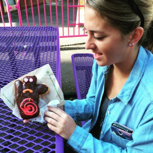 It's her birthday. Why wouldn't she want a voodoo doll-shaped doughnut?