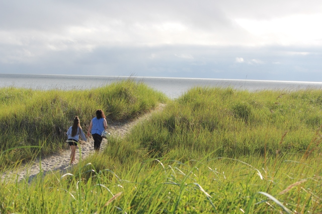 Walking the long path to the beach at Gearhart, Oregon
