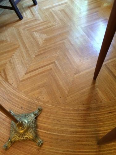 Exquisite parquet floors in the music room of Pittock Mansion, Portland, Oregon