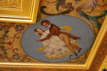 Painted ceilings reveal fashions and artwork of the times.