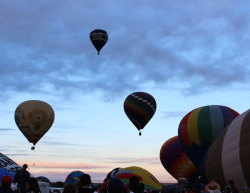 Balloons float up and away,  silhouetted in the morning sky.