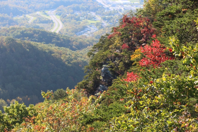 Touches of fall color dotted the mountains at Cumberland Gap.