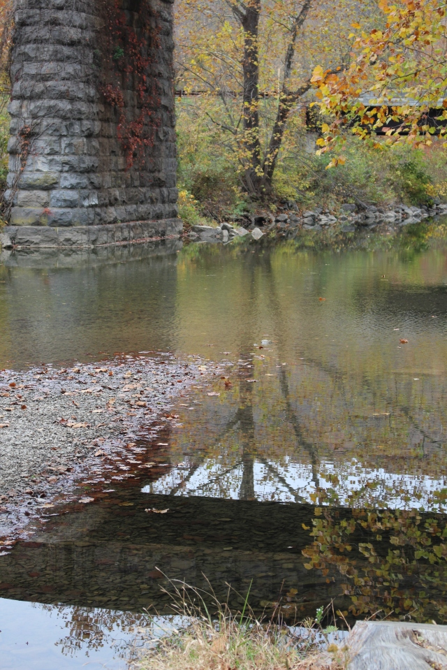 Reflections in Dunlap Creek, below Humpback Bridge.