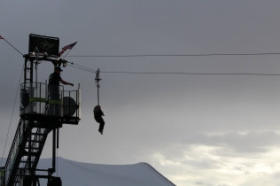 Getting a view of the launch field from a zipline!